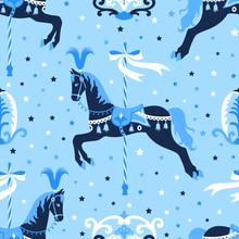 Blue Carousel Horse Seamless P...