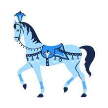 Blue Carousel Horse.