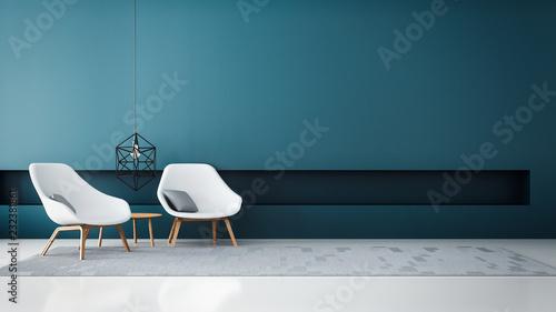 Photo  chair & Blue wall modern living room / 3D render interior