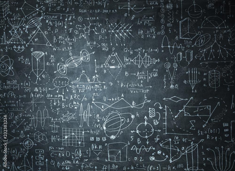 Fototapety, obrazy: Chalkboard with formulas