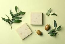 Handmade Soap Bars And Leaves ...