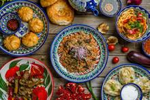 Dishes Of Uzbek Cuisine Lagman, Pilaf, Manti