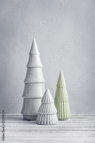 Three Decorative Ceramic Christmas Tree Buy This Stock Photo And