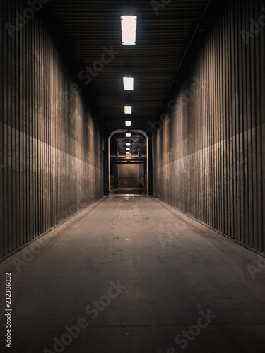 Empty hallway in a factory with neon lights shining Wallpaper Mural