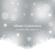 Merry Christmas silver vector background. Winter card with copy space.
