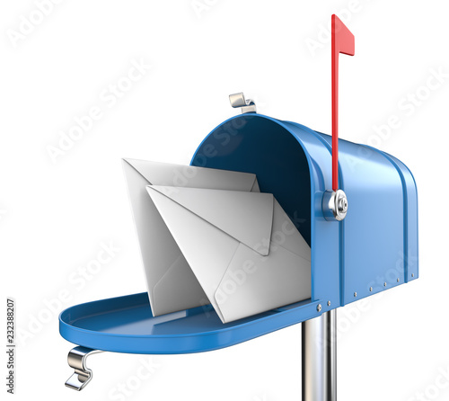 Mailbox and Mail. Blue Mailbox, open with 2 envelopes. Isolated on white background. 3D render. © jojje11