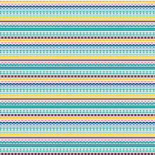 Colorful, Quirky Horizontal Stripe Vector Pattern. Modern Stripe Background. EPS File Includes Pattern Tile Swatch. Teal, Green, Yellow, Orange, Purple, Burgundy.