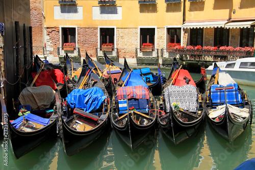 Foto op Canvas Gondolas Moored Gondolas