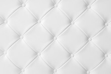 Light White Luxury Upholstery Sofa Texture Background Concept For Clean Gray Vintage Leather Furniture Pattern Wallpaper, Closeup Interior Elegant Armchair Mattress Surface Detail, Real Tuft Material.