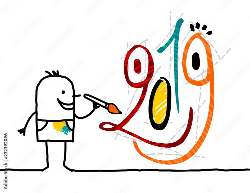 Cartoon artist painting a 2019 funny graffiti face