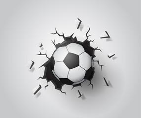 Football on the wall broken. Illustration Vector EPS10.
