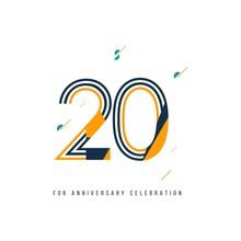 20 Year Retro Anniversary Celebration Vector Template Design Illustration