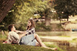 canvas print picture Couple in love enjoying picnic time