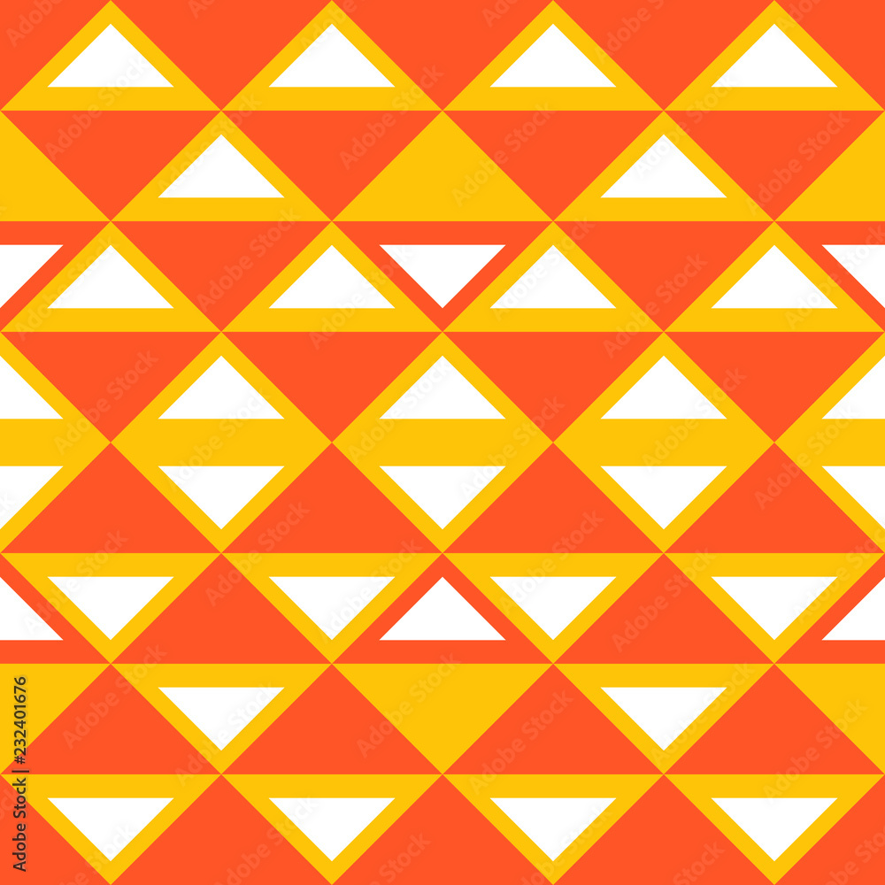 Orange geometric abstract seamless pattern with triangle colorful background scandinavian style. Vector illustration for fashion wrapping and textile print.