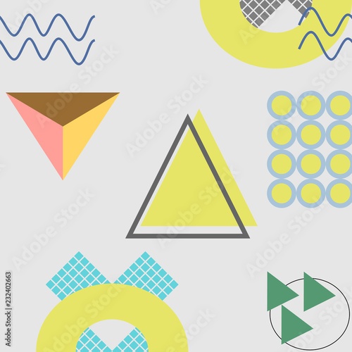 Memphis trendy geometric abstract pattern with 90s style