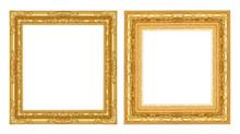 Set  Antique Golden Frame Isolated On White Background