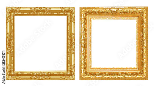 Obraz Set  antique golden frame isolated on white background - fototapety do salonu