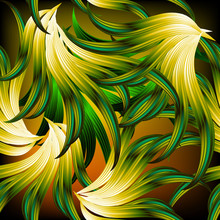 Exotic Tropical Abstract Leafy...