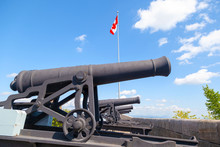Historic Cannons At The Ramparts Of Old Quebec City Dating Back To 1608 And 1871. The Place Is Now A UNESCO World Heritage Site.