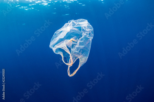 Fotomural  Underwater pollution:- A discarded plastic carrier bag drifting in a tropical, b