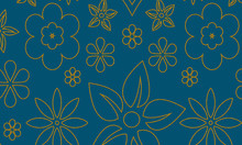 Seamless Floral Pattern With Golden Paisley Flowers