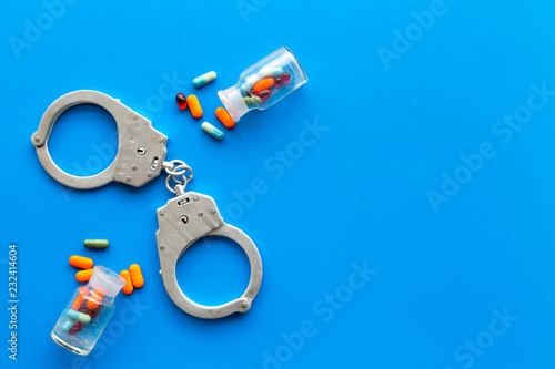 Arrest for illegal purchase, possession and sale drugs concept Wallpaper Mural