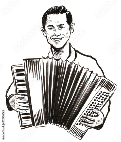 Musician playing an accordion. Ink black and white illustration Wallpaper Mural