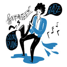 Drawing A Man Blowing Saxophone. Vector Illustration Doodle Style.