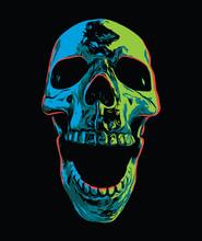 Psychedelic Screaming Skull