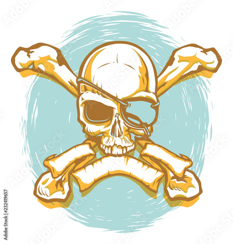 Photo  Pirate Skull and Crossbones with Banner