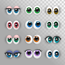 A Set Of Funny Eyes On A Transparent Background