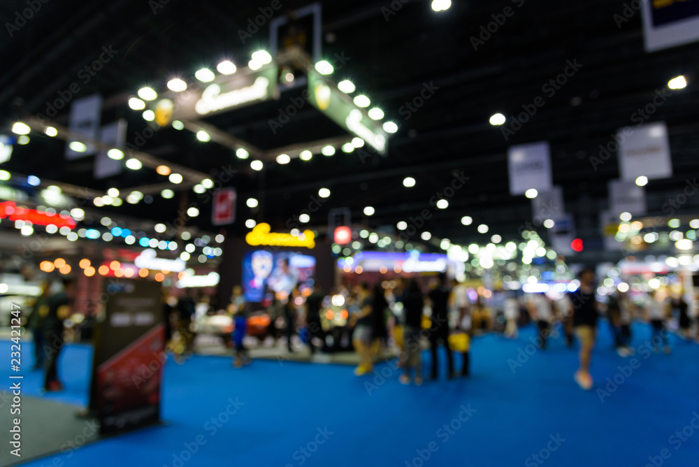 Fototapeta Blurred background of event exhibition show public hall, business trade concept