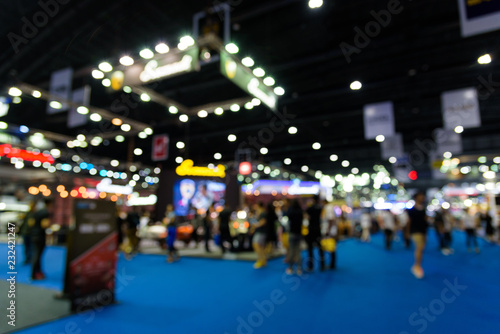 Blurred background of event exhibition show public hall, business trade concept - 232421247