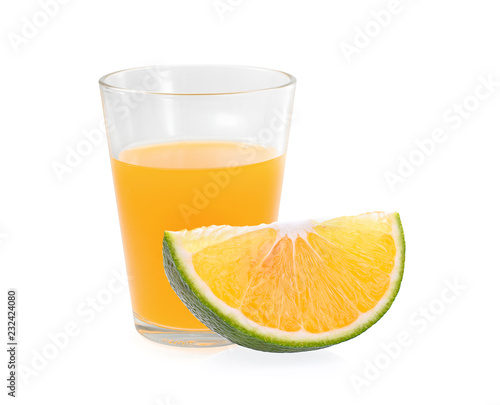 orange juice with orange isolated on white background.