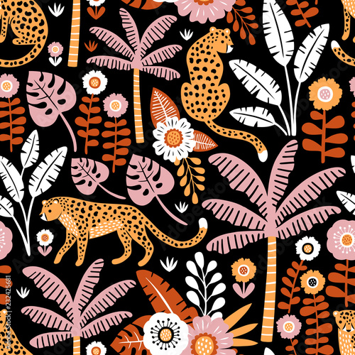 Cotton fabric Hand drawn vector seamless pattern with leopards, palm trees and exotic plants on black background.  Perfect for fabric, wallpaper or wrapping paper.