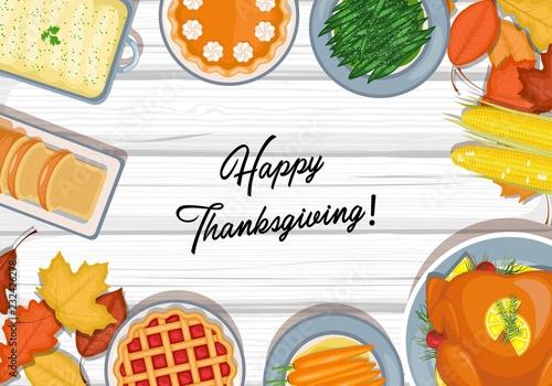 Thanksgiving dinner table Fototapeta