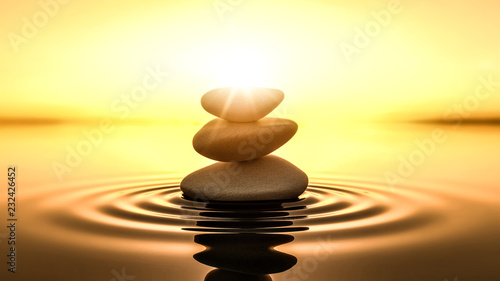 Photo zen stones in water