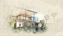 Architectural Sketch Of A House