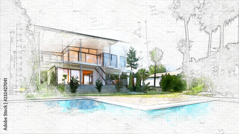 Fototapeta architectural sketch of a house
