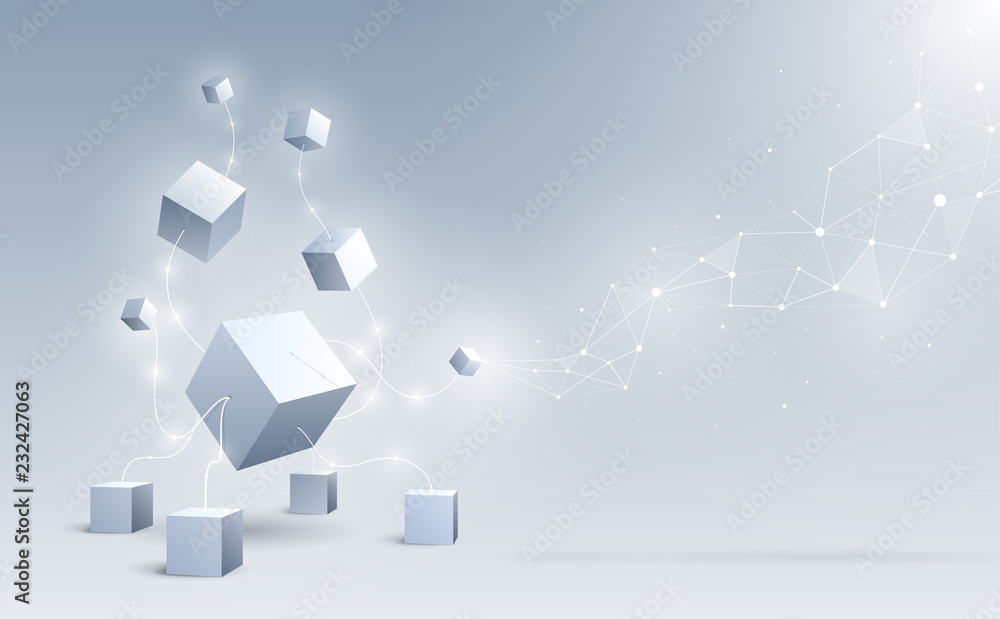Fototapeta Abstract 3d cubes and background. A connection of geometric big and small cubes. Science and Blockchain technology. Big data and Internet connection. Vector illustration.