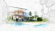 Leinwandbild Motiv architectural sketch of a house