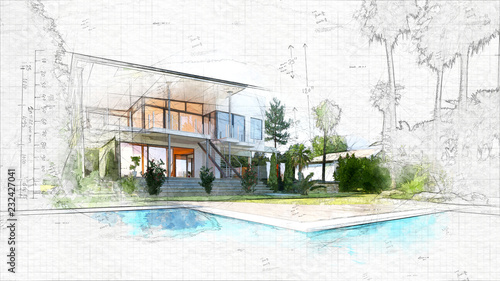 Fototapeta architectural sketch of a house obraz