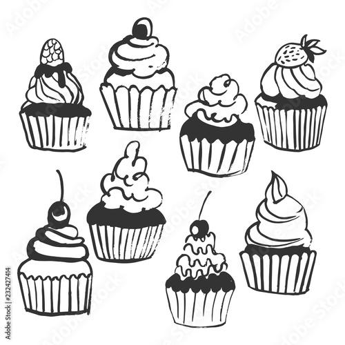 Photo  Hand drawn cupcakes. Vector sketch  illustration.