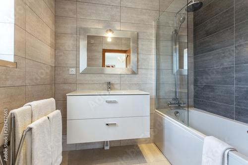 Cuadros en Lienzo Modern bathroom shower room with toilet and amenities.