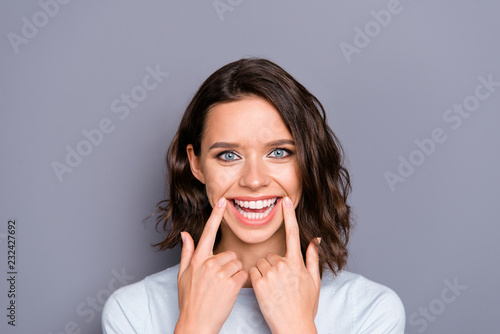 Fotografie, Obraz  Close up photo portrait of cheerful glad positive lady with her