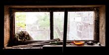 Old Window In Dark Barn As Background