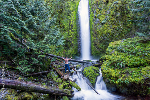 Hiker Standing at Gorton Creek Falls, Columbia River Gorge, Oregon Canvas Print