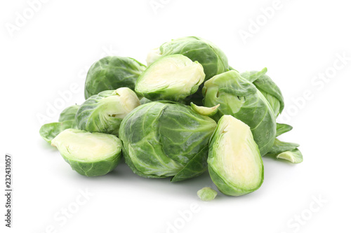 Staande foto Brussel Fresh brussels sprouts on white background