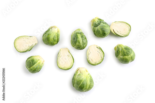 Stickers pour portes Bruxelles Fresh brussels sprouts on white background