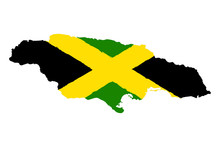 Map Of Jamaica With Flag. Hand...